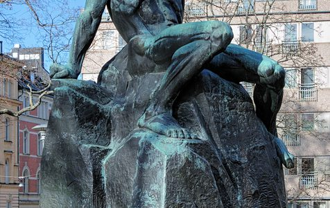 """Monument of swedish playwright August Strindberg in Tegnerlunden park of Stockholm, Sweden. Monument by swedish sculptor Carl Eldh was erected in 1942."""