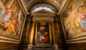 Rome italy - June 14, 2015:  interiors and architectural details of saint louis des francais church, in Rome, Italy